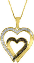 JCPenney FINE JEWELRY ForeverMine 1/10 CT. T.W. White and Champagne Diamond Double-Heart Pendant Necklace
