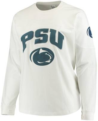 Women's White Penn State Nittany Lions Plus Size Edith Long Sleeve T-Shirt
