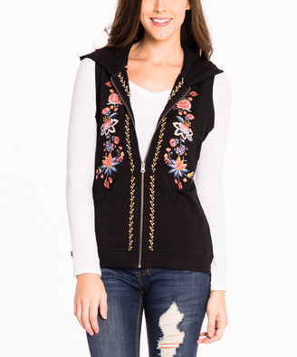 Paparazzi Women's Cardigans BLACK - Black Floral Embroidery Hooded Vest - Women