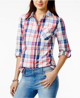 Tommy Hilfiger Cotton Plaid Roll-Tab Shirt, Only at Macy's