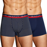 Gant Stretch Cotton Dot Trunks, Pack of 2, Navy/Red