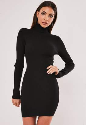 Missguided Black Roll Neck Knitted Mini Dress