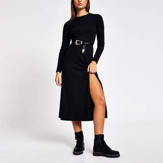 River Island Womens Black ribbed long sleeve A line midi dress