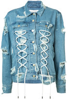 Public School lace-up detail denim jacket - women - Cotton/Spandex/Elastane - XS