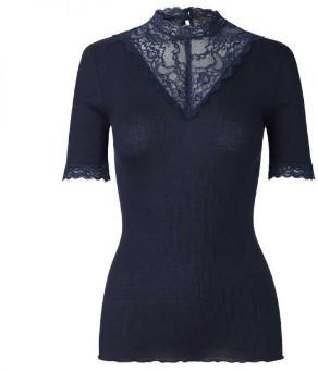 Rosemunde Navy Short Sleeve Lace Neck Top - SMALL - Blue