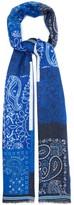 Etro Linear Paisley-print Linen Scarf - Mens - Blue Multi