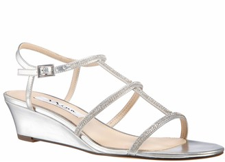 Nina Leather Halter Low Wedge Sling Sandals- Fiona