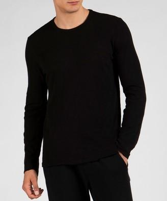 Atm Slub Jersey Long Sleeve Destroyed Wash Tee - Black