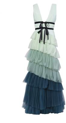 True Decadence Green Ombre Tiered Tulle Maxi Dress