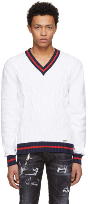 DSQUARED2 White Outline V-Neck Pullover