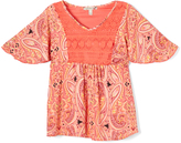 Speechless Coral Paisley Crochet-Accent Tunic - Girls
