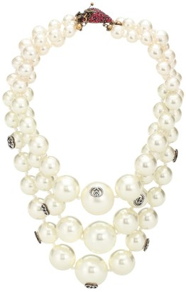 Gucci Strawberry faux pearl necklace