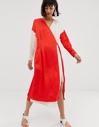 ASOS contrast satin wrap dress