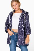Boohoo Poppy Star Print Rain Mac