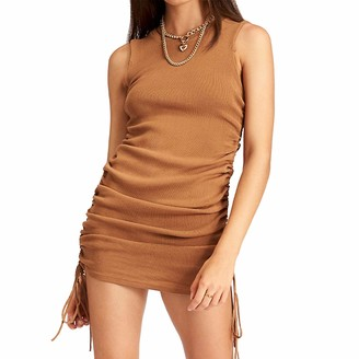 Enfei Women Summer Side Drawstring Sleeveless Dress Sexy Stretchy Bodycon Tank Dress Brown
