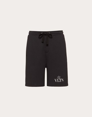 Valentino Vltnstar Bermuda Shorts Man Black/white Cotton 94%, Polyamide 6% L