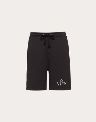 Valentino Vltnstar Bermuda Shorts Man Black/white Cotton 94%, Polyamide 6% S