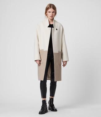 AllSaints Women's Wool Rylee Coat, Cream and Beige, Size: XS