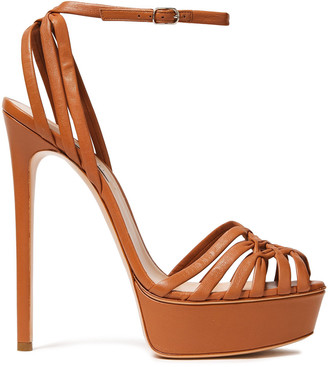 Casadei Minorca Woven Leather Platform Sandals