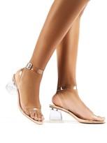 Public Desire Afternoon Wide Fit Patent Perspex Block Heels