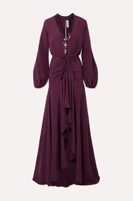 Silvia Tcherassi Danitza Sequin-embellished Ruched Silk Crepe De Chine Gown - Grape