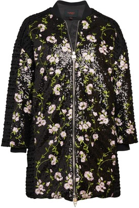 Giambattista Valli Sequin Floral Down Puffer-Lined Coat