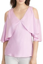 Lauren Ralph Lauren Cold Shoulder Silk Blouse