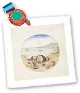 3dRose LLC qs_109800_1 Florene Beach - 1580 Oil Painting Seashells n Sea Of Cadiz - Quilt Squares