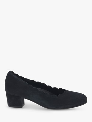 Gabor Gigi Wide Fit Suede Block Heeled Court Shoes
