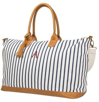 Cathy's Concepts Navy Personalized Striped Weekend Tote - MULTIPLE LETTERS AVAILABLE