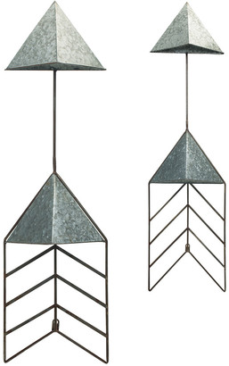Transpac Set Of 2 Metal Silver Spring Arrow Wall Mount Planters