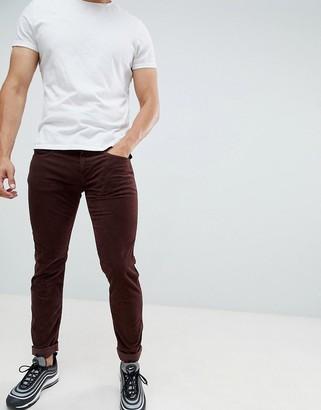 Replay Anbass slim stretch corduroy jeans in burgundy