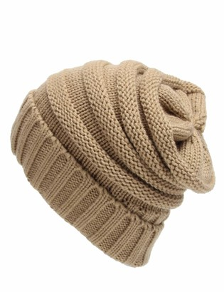 Legou Women's Warm Soft Cable Knit Slouchy Beanie Camel One Size