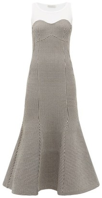 Vika Gazinskaya Houndstooth Fishtail-hem Cotton-blend Dress - Womens - White Multi