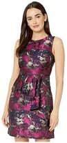 Vince Camuto Jacquard Sleeveless Dress w/ Front Ruffle (Navy Multi) Women's Dress
