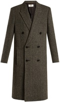 Saint Laurent Peak-lapel wool-blend herringbone coat