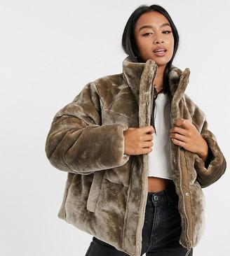 ASOS DESIGN Petite plush faux fur puffer jacket in mink