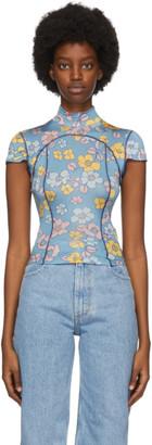 Eckhaus Latta SSENSE Exclusive Blue Floral Sport T-Shirt