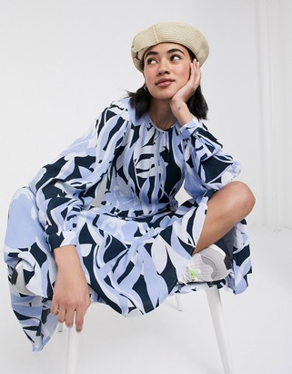 Selected midi dress with drop waist in abstract print