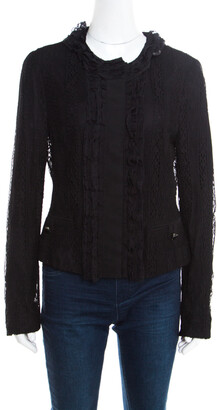 Dolce & Gabbana Black Striped Lace Ruffle Trim Button Front Jacket M