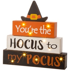 Glitzhome Halloween Wooden Lighted Witch or Word Block Table Decor