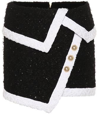 Balmain Sequinned tweed miniskirt