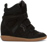 Isabel Marant Black Suede Bekett Wedge Sneakers
