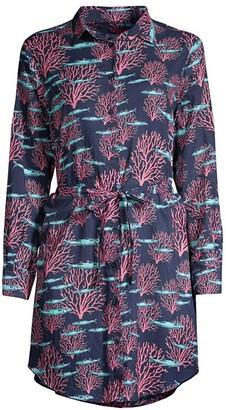 Vilebrequin Florence Coral Tie-Waist Shirtdress