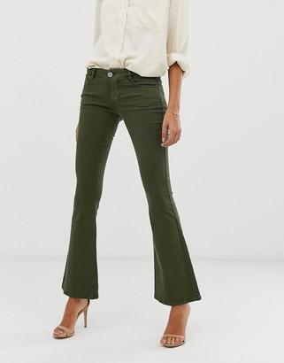 Asos Design DESIGN super low rise flare jeans in khaki-White