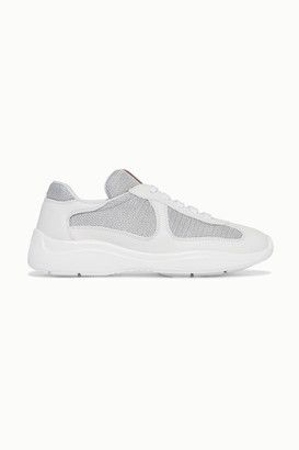 Prada America's Cup Leather And Metallic Mesh Sneakers - White