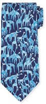 Salvatore Ferragamo Giraffe-Printed Silk Tie, Blue