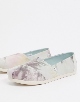Toms Alpargata Earthwise sustainable flat shoes in grey tie dye