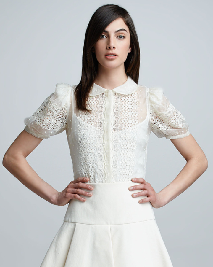 RED Valentino Embroidered Button-Front Blouse, Ivory