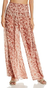 Caroline Constas Smocked Printed Swim Cover-Up Pants